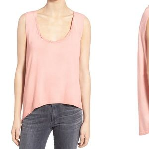 Pam & Gela pink hi-lo sleeveless tank top